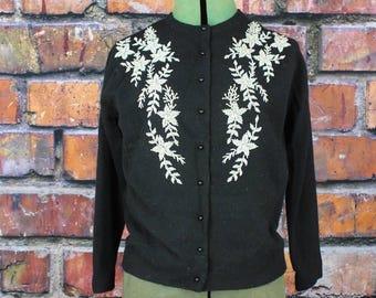 Vintage 1960s Beaded Angora Sweater