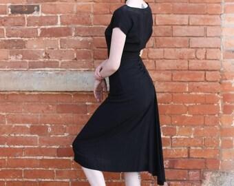 Lorayne Frocks Vintage 1940s Sheer Rayon Dress
