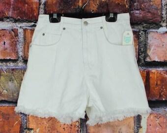Vintage 90s High Waisted Cut Off White Denim Shorts