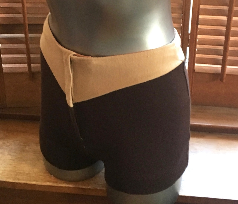 AWESOME Vintage 1970s polyester HOT PANTS in 2 tone BrownBeige size 26