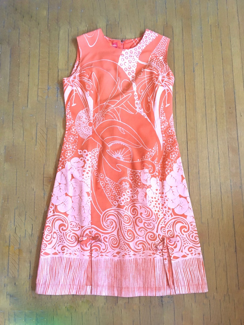 Vintage 1960s Frock by BEACHCOMBER JAMAICA in a lovely orange /& white size Medium W.I