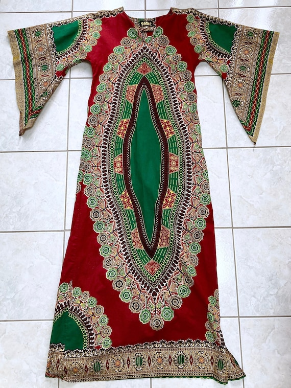 Vintage 70's DASHIKI Maxi Dress with ANGEL wing sl