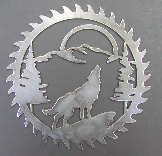 """Saw Blade Style Elk Scene Metal Art Plasma Wall Wildlife Rustic 9/"""" diameter"""