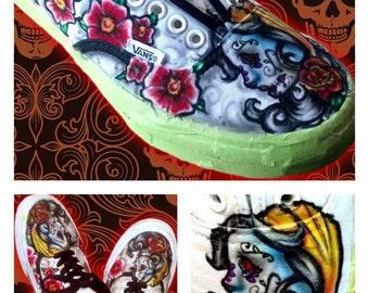 23ba7922a1 Custom Airbrushed Dia De Los Muertos Vans- Day of the Dead Sugar Skulls