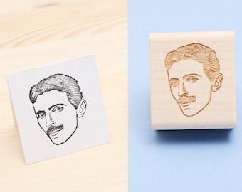 Nikola Tesla - Rubber Stamp Portrait