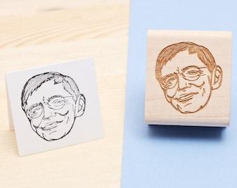 Stephen Hawking - Rubber Stamp Portrait