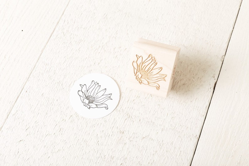 Wild Flower  Floral Rubber Stamp image 1