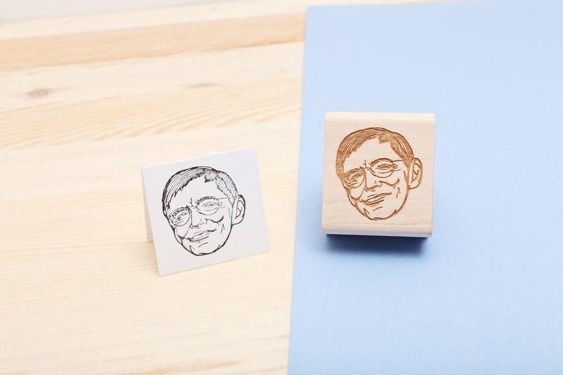Stephen Hawking  Rubber Stamp Portrait image 0