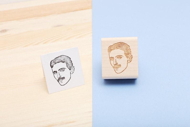 Nikola Tesla  Rubber Stamp Portrait image 0