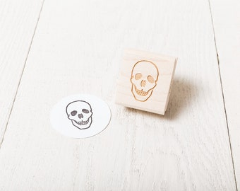 Human Skull - Rubber Stamp - Center Facing