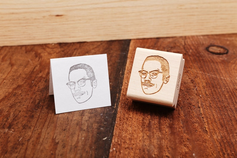 Malcolm X  Rubber Stamp Portrait image 0