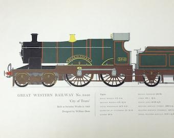 Vintage Train Illustration Print Railway No. 3440 Locomotives in Retirement