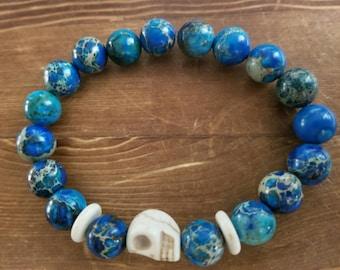 Men's Jasper and Stone Skull Beaded Bracelet