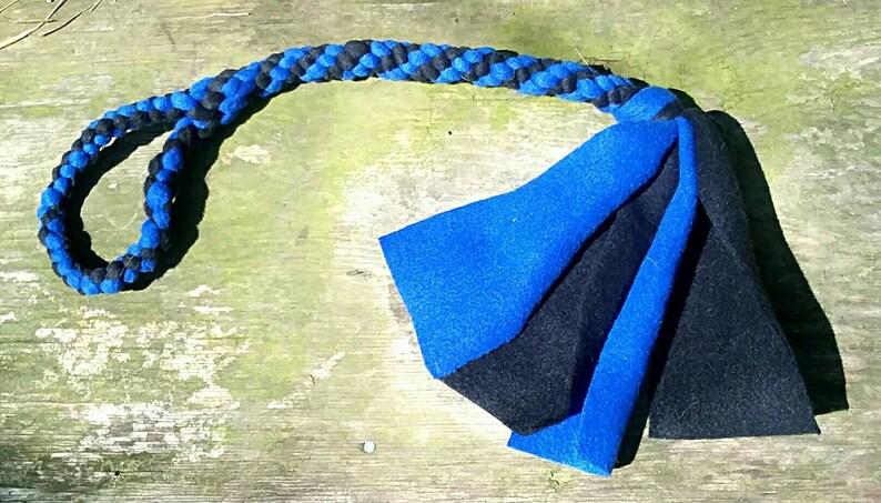 Handle Braided Fleece Dog Tug Toy with Optional Rabbit Fur