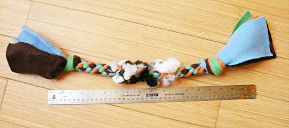 with Optional Rabbit Fur Handle Braided Fleece Dog Tug Toy