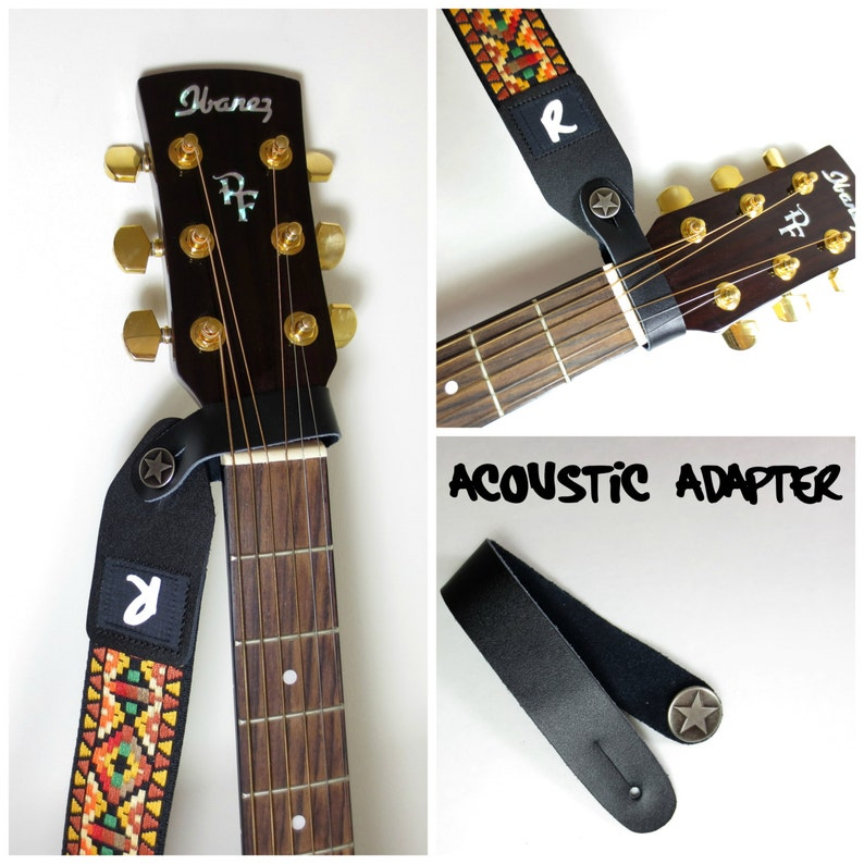 Acoustic Guitar Strap Leather Adapter  Button  Headstock image 0