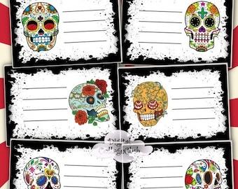 80 OFF Autumn Fall Sale Sugar Skull Digital Collage Sheet Instant Download Cards Postcards Party Invitation Dia De Los Muertos Hall