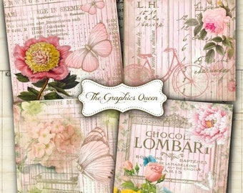 Digital cards etsy 80 off autumn fall sale shabby chic french sweet cottage digital collage sheets 38 x 38 inches square images for coasters digital cards m4hsunfo