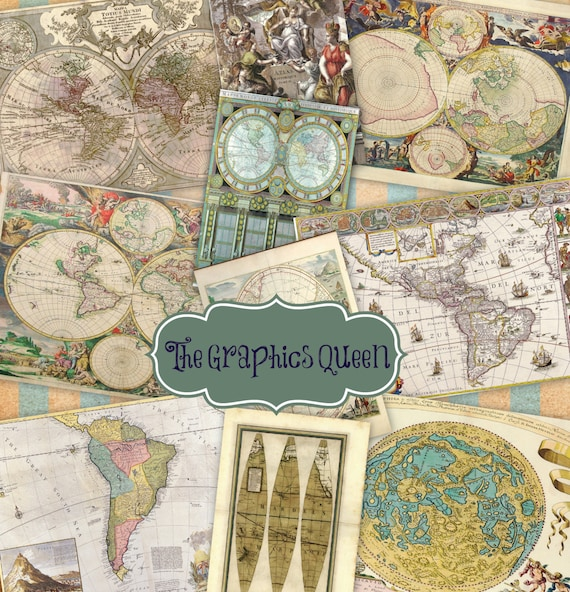Craft Hobby Antique Vintage World Maps A4 Sheet Premium Paper for Decoupage