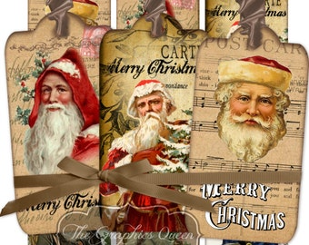 Vintage Santa Claus Digital Tags Labels Digital Collage Sheets Christmas Cards ACEO Christmas Images Instant Digital Download