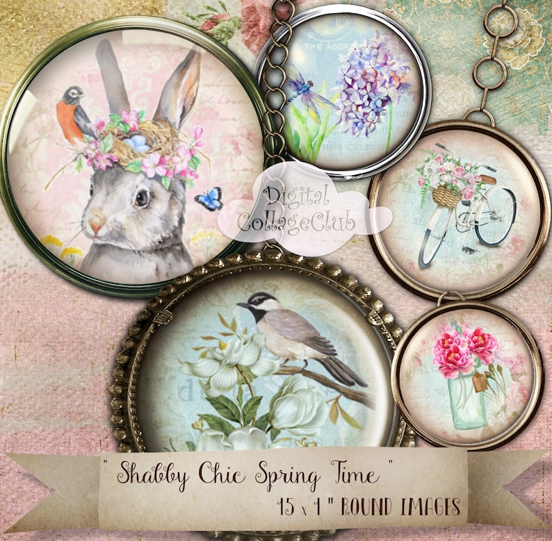 Shabby Chic Spring Time Easter Images 1 inch Circles Bottle Cap Bottlecap Images for Scrapbooking Card Making Jewellery Decoupage