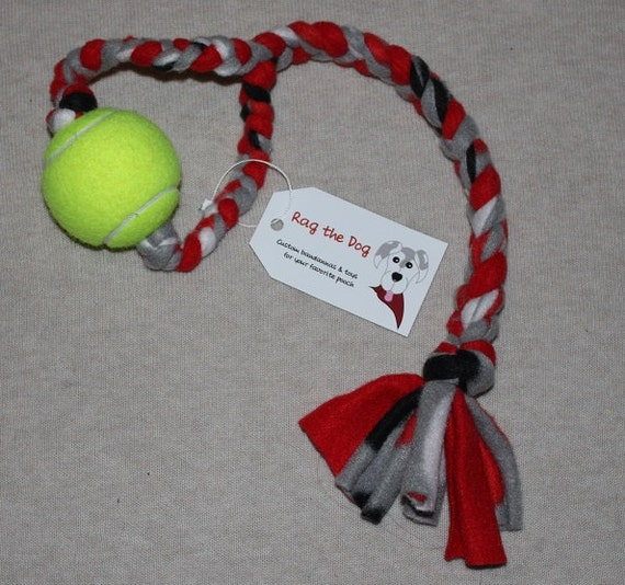 e5752dfca Red Black Gray Braided Fleece Rope Pull Toy with Tennis Ball