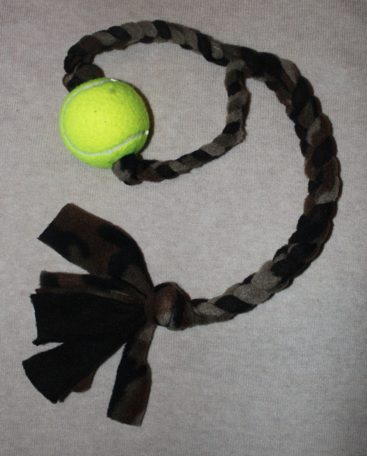 abd3ba996 Camouflage Pattern Braided Fleece Rope Pull Toy with Tennis