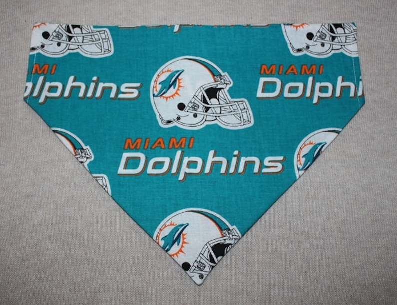 official photos b0210 d2fb3 Miami Dolphins Dog Bandanna in Small, Medium or Large