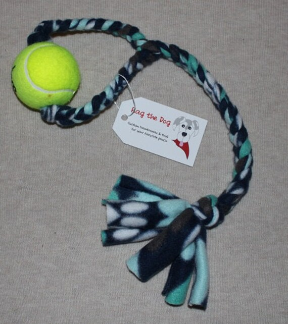 0cecf90ae Navy Teal White Pawprint Braided Fleece Rope Pull Toy with Tennis Ball for  Dog