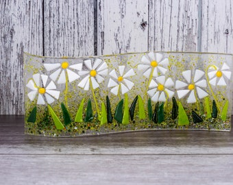 Daisy flowers fused glass flower picture curved free-standing glass window decoration