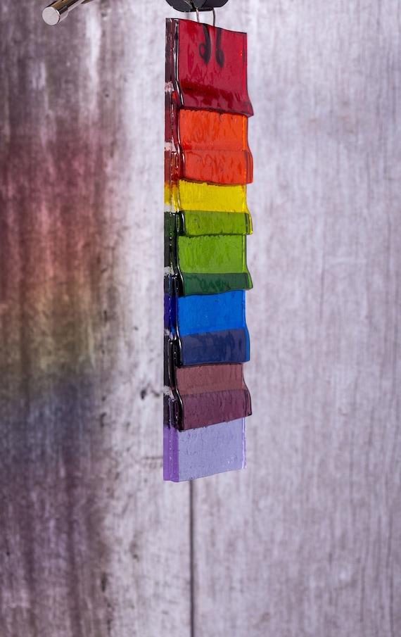Rainbow Fused Glass Sun Catcher Panel.Gay Pride.Wall Decor.Garden Art