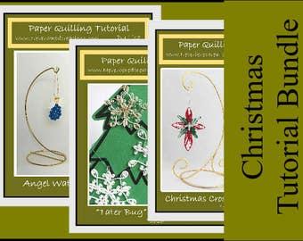 DIY Pattern - Christmas Tutorial Bundle: Angel, Snowflake, Cross & Poinsettia Quilling
