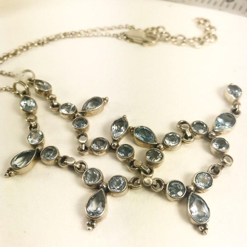 Modern Blue Topaz Necklace  Blue Topaz and Sterling Silver Necklace