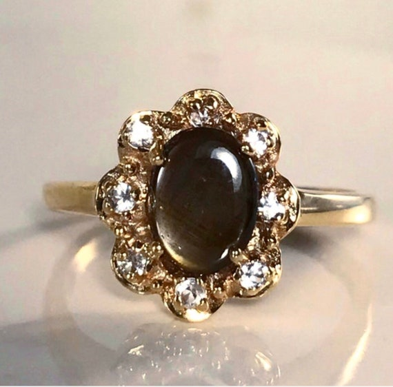 Vintage Black Star Diopside and Diamond Ring / Bla
