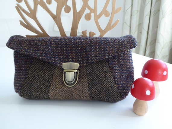 c449408e04 Harris Tweed Bag brown Tweed evening clutch bag.