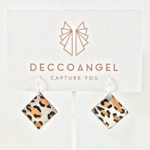 leopard print Earrings   lightweight laser cut leather solid sterling silver hook