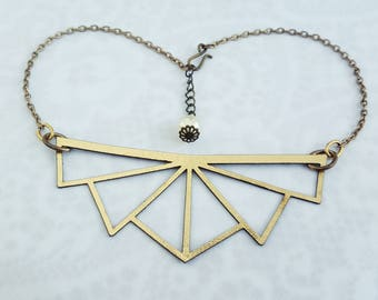Gold choker - lasercut Kangaroo leather with upcycled finding detail