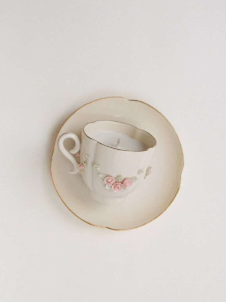 Vintage Royal Crest China Teacup and saucer Orchid soy candle scent