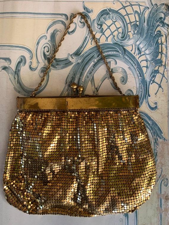 Antique 1920's Art Deco evening purse gilt metal m