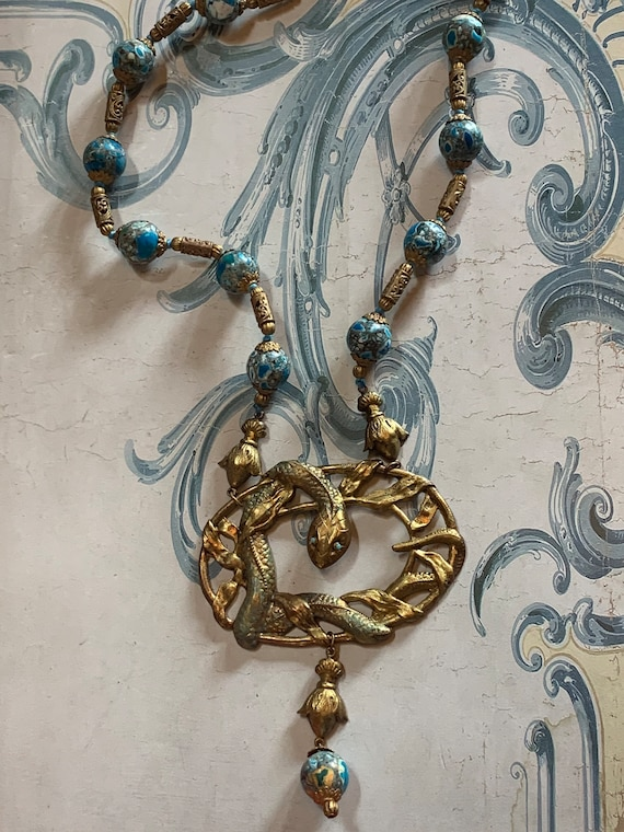 Antique revival snake Czech glass beaded necklace… - image 6