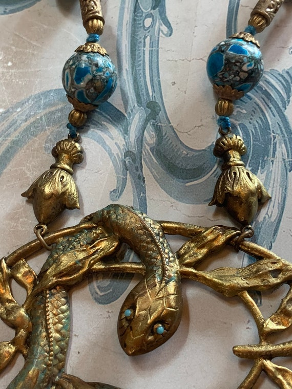 Antique revival snake Czech glass beaded necklace… - image 2
