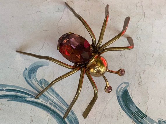 Antique French spider brooch large, amethyst glass