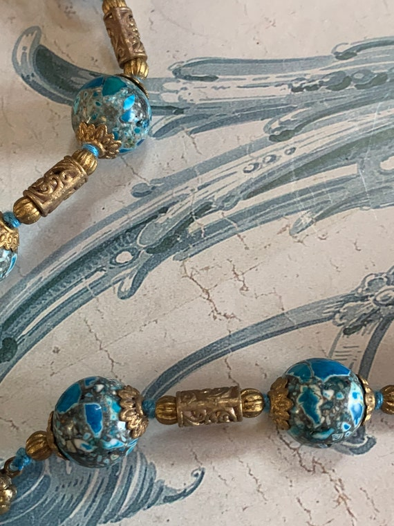 Antique revival snake Czech glass beaded necklace… - image 3