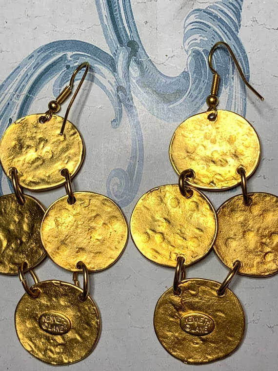 Vintage Kenneth Jay Lane gold plated hammered coin