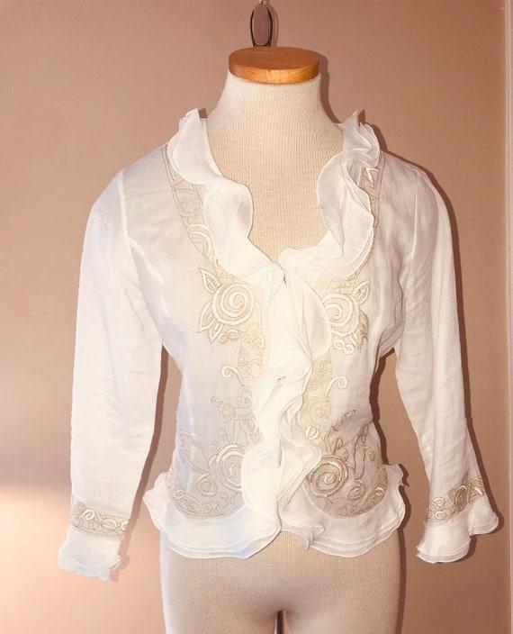 VIntage NEIMAN MARCUS White Linen Ruffle Blouse s… - image 3
