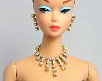 Barbie Repro Vintage FR Handmade Necklace Earrings Rhinestone Jewelry NE100015
