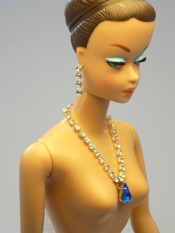 Barbie Repro Vintage FR Handmade Necklace Earrings Rhinestone Jewelry NE100015