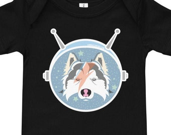 Laika Space Pup / Bowie Art Baby short sleeve one piece