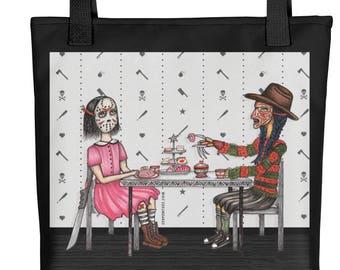 J's Tea Party On Elm Street / or Little Jason vs Freddy / Art Tote bag