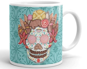OFRENDA PAN DULCE Mexican Sweet Bread Sugar Skull Coffee Mug